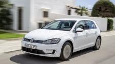 White VW e-Golf driving