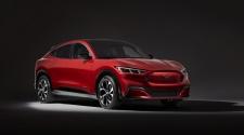 Red Mustang Mach-E studio shot